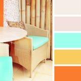 Meubles de rotin échantillons de palette de couleurs Photos stock