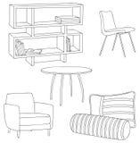 Meubles et décor à la maison : Le placard, l'oreiller, le traversin, le sofa et la table esquissent le contour Image libre de droits