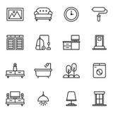 Meubles et ensemble à la maison d'icône de décor Photos stock