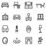 Meubles et ensemble à la maison d'icône de décor Illustration de vecteur Photographie stock