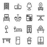 Meubles et ensemble à la maison d'icône de décor Illustration de vecteur Photos stock