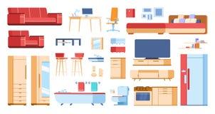Meubles intérieurs de bande dessinée Table d'isolement plate de garde-robe de divan de salon de cabinet à la maison de chambre à  illustration de vecteur
