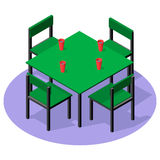 Meubles intérieurs isométriques - table de dîner avec des boissons et quatre chaises Photos libres de droits