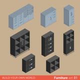 Meubles isométriques de vecteur plat de coffret de cabinet de stockage de placard Images libres de droits