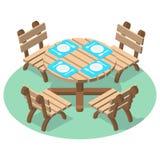 Meubles isométriques - table de dîner avec des couverts et quatre chaises Images libres de droits