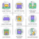 Meubles réglés d'icône de Heater Battery Household House Heating d'eau chaude, collection de machine à laver la vaisselle d'aspir Photographie stock