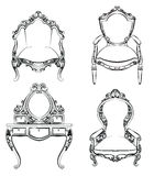 Meubles royaux classiques réglés avec les ornements luxueux Photographie stock
