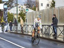 The Cyclist Kevin Ledanois - Paris-Nice 2018 stock photography