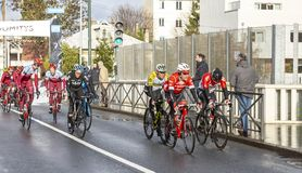 Group of Cyclists - Paris-Nice 2018 royalty free stock image