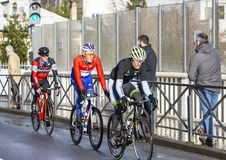Group of Cyclists - Paris-Nice 2018 royalty free stock images