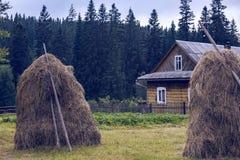 Meule de foin dans le village carpathien ukrainien image stock