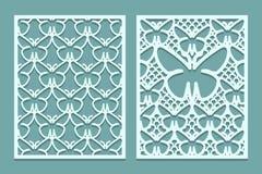 Meurent et les modèles décoratifs de panneaux de dentelle coupés par laser avec des papillons Ensemble de calibres de repères Pan illustration libre de droits
