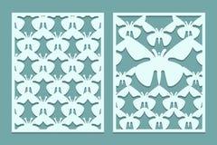 Meurent et les modèles fleuris de panneaux de dentelle coupés par laser avec des papillons Ensemble de calibres de repères Pannea illustration stock