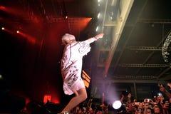 Meurent la bande d'éloge de coup sec et dur d'Antwoord exécute au festival de sonar Images libres de droits