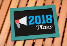 Meus planos para 2018 objetivos do ano novo na ardósia de madeira Fotografia de Stock