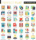 Meus símbolos lisos complexos do conceito do ícone do vetor do local de trabalho do espaço de trabalho para o projeto infographic Fotos de Stock Royalty Free
