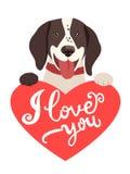 Meus sentimentos Cão bonito com coração e texto eu te amo Cartão com animais bonitos Imagem de Stock Royalty Free