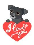 Meus sentimentos Dia de Valentim do elemento do projeto Cão bonito com coração e texto eu te amo Imagens de Stock