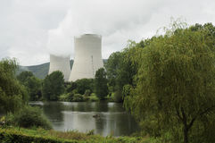 Meuse and nuclear plant, ardennes Stock Photo