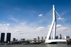 Meuse River and Erasmus Bridge Royalty Free Stock Photos