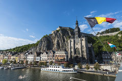 Meuse River passing through Dinant, Belgium. Royalty Free Stock Photography