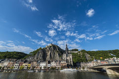 Meuse River passing through Dinant, Belgium. Royalty Free Stock Photo