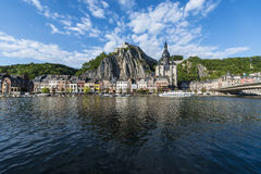 Meuse River passing through Dinant, Belgium. Royalty Free Stock Photography