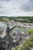 Meuse River passing through Dinant, Belgium. Royalty Free Stock Images