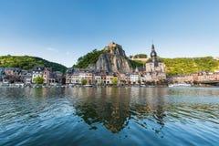 Meuse River passing through Dinant, Belgium. Stock Images