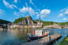 Meuse River passing through Dinant, Belgium. Stock Image