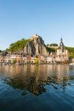 Meuse River passing through Dinant, Belgium. Royalty Free Stock Photo