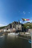 Meuse River passing through Dinant, Belgium. Stock Photo