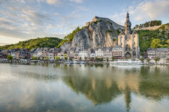 Meuse River passing through Dinant, Belgium. Stock Image