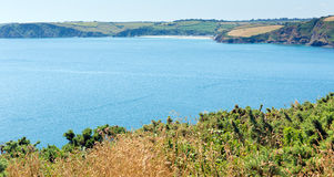 Mevagissey Bay from Black Head near St Austell Cornwall. Mevagissey Bay from Black Head headland near St Austell Cornwall England on a beautiful summer day Stock Photography