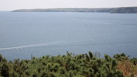 Mevagissey Bay near St Austell Cornwall England towards Pentewan Royalty Free Stock Image