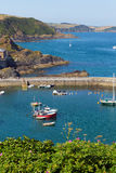Mevagissey harbour Cornwall England blue sea and sky Royalty Free Stock Photography