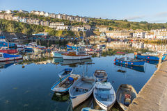 Mevagissey harbour Cornwall UK at sunrise. Stock Images