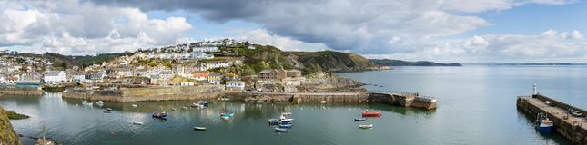 Mevagissey Harbour panoramic, in mid April, Cornwall. Mevagissey Harbour panoramic, with views across St Austell Bay in mid April, Cornwall stock images