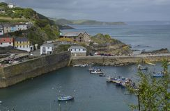 Mevagissey St. Austell Bay. The quaint fishing village of Mevagissey and St. Austell Bay in Cornwall, Great Britain Stock Photo