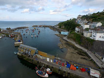 Mevergissey Fishing Harbor. In Cornwall South West England. This is an Arial shot taken by a DJI Inspire 1 Drone. All the fishing boats are moored up after a royalty free stock photography