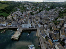 Mevergissey Fishing Village. Mevergissey Fishing Harbor in Cornwall South West England. This is an Arial shot taken by a DJI Inspire 1 Drone. All the fishing royalty free stock photo