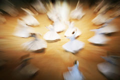 Mevlana dervishes dancing in the museum royalty free stock photo