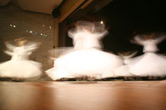 Mevlana dervishes dancing in the museum Royalty Free Stock Images