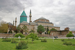 Mevlana Museum,Konya. The Mevlâna museum, located in Konya, Turkey, is the mausoleum of Jalal ad-Din Muhammad Rumi, a Sufi mystic also known as Mevlâna or Rumi Royalty Free Stock Images