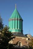 Mevlana Museum in Konya, Turkey. The green dome of the Mevlana Museum, where the founder of the Whirling Dervishes is buried. Konya, Anatolia, Turkey Royalty Free Stock Photography