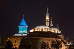 Mevlana museum mosque in Konya at night royalty free stock photos