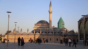 Mevlana tomb,time lapse people walking,view,tourism,travel,2016 stock video