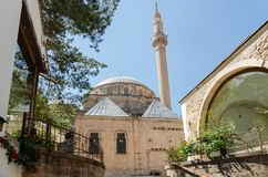 Mevlevi Turbe Mosque, Afyonkarahisar in Turkey. The main parts of the mosque are :mausoleum,special worship chamber,masjid,sherbet chamber,gathering place for Stock Photos