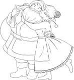 Mevr. Claus Kisses Santa On Cheek en Omhelzingen het Kleuren  Stock Afbeeldingen