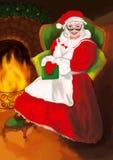 mevr. Claus met glazen in een rode kleding en een hoed zit in een grote groene leunstoel dichtbij open haard stock illustratie